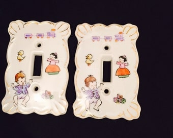 Light Switch Covers Porcelain Set Of Two For Nursery, Baby Room Or Childs Room SALE