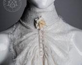 Lace Jabot / Ivory eyelash lace / Tall collar / Ruffled lace  / Beaded rose / Steampunk / Elegant Gothic / Aristocrat Gothic Lolita Cosplay