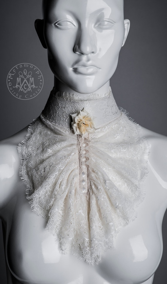 Lace Jabot / Ivory eyelash lace / Tall collar / Ruffled lace  / Beaded rose / Steampunk / Elegant Gothic / Aristocrat Gothic Lolita Cosplay