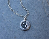 Yin Yang Necklace - handmade fine silver freeform pebble charm - textured oxidized sterling silver chain- free shipping USA