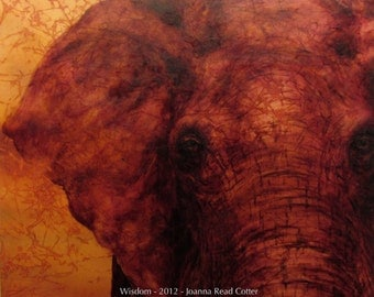Wisdom mixed media painting - Elephant art - limited edition archival print