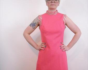 Vintage FULL LENGTH Pink Maxi Dress // 1970s Textured Polyester Formal Dress // Silver Gold Metallic Lurex Trim // Medium Large