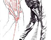 GOLF print of Golf stance, 1960s illustration black red line art