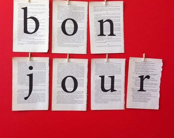 BONJOUR decoration, French typographic bunting made from vintage book pages