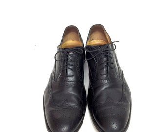 Vtg Black Wingtip Oxford Italian Brogue Shoes Mens Size 13 Medallion Truman Leather Lace Ups