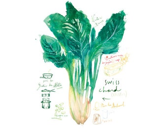 Swiss chard poster, Vegetable print, Green kitchen decor, Watercolor painting, Food, Garden poster, Veggie illustration, Kitchen wall art,