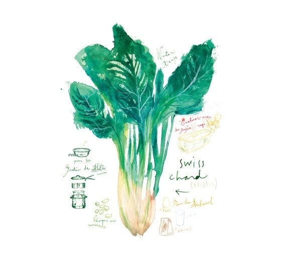 Swiss chard poster, Vegetable print, Green kitchen decor, Watercolor painting, Food, Garden poster, Veggie illustration, Kitchen wall art,