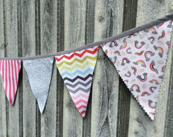 Fabric Bunting Flags Rainbows, Clouds, Hot Pink stripes, rainbow chevron in muted tones, pennant flags arty decoration