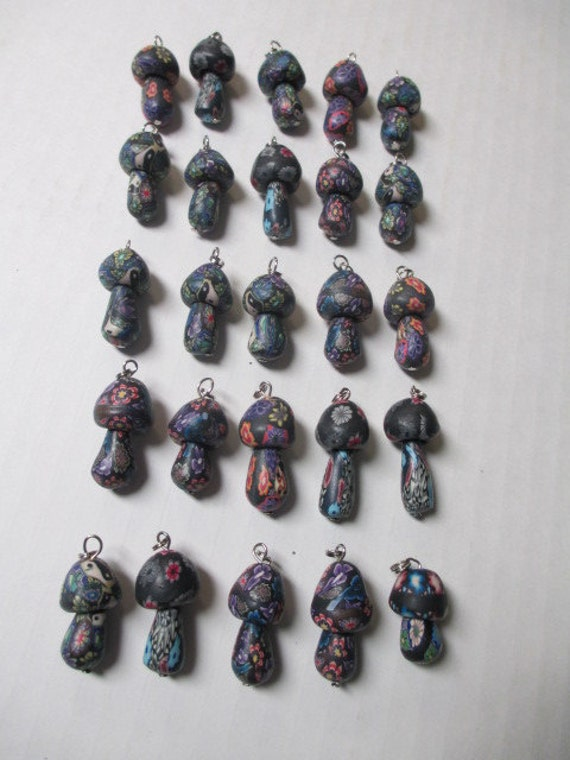 Grade B - MUSHROOM PENDANTS lot of 25 FIMO -  Necklace Design Focal Clay Bead Charm Supplies