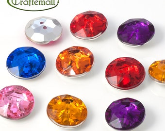 Acrylic rhinestone buttons - assorted colors - set of 10 buttons - F022-13mm-M