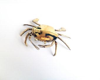 Vintage Brass Crab Box / Trinket/ Ashtray / Secret Box