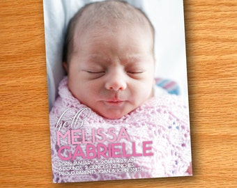 Printed Hello Color Block Pink Baby Girl Birth Announcement