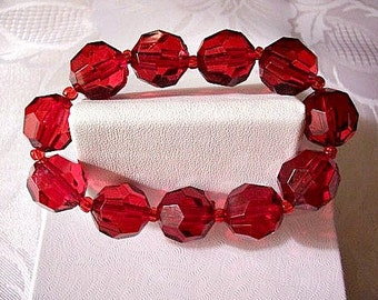 Red Cranberry Faceted Stretch Bracelet Vintage Clear Expandable Adjustable Wrist Jewelry Small Seed Bead Spacers