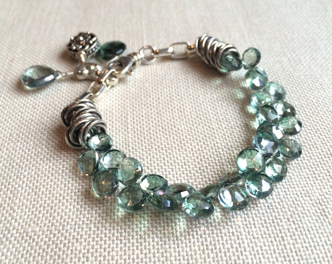 Green Gemstone Charm Bracelet on Sterling Silver