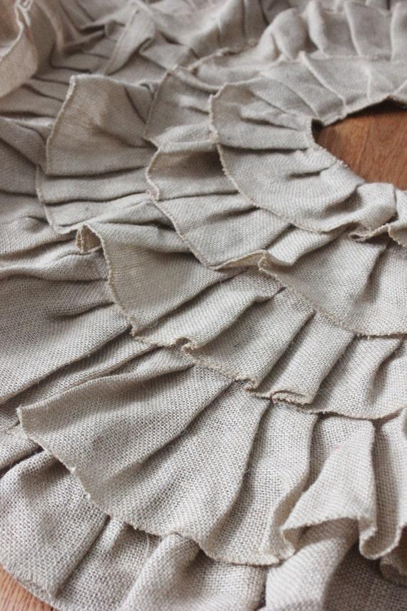 Black Friday Sale BURLAP TREE SKIRT Ruffled Burlap Fabric