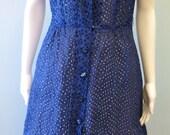 Mod 1950's Navy Blue Eyelet Button Down Dress