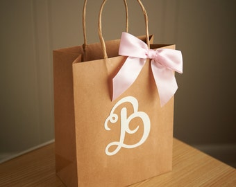 Gift Bags for Wedding Guests.  Handcrafted in 2-3 Business Days.  Large Kraft Paper Bags with Handle.  Party Favor Bags.