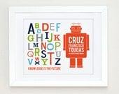 Personalized ABC Wall Art, Robot Art, Space Nursery Wall Art, Robot Nursery Art,  Personalized Robot Alphabet Print