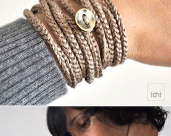 Crochet Wrap Bracelet and Necklace in one piece. Gold color . Friendship Bracelet . Simple, beautiful and lightweight .