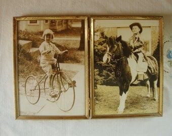 VINTAGE FRAMED Double PHOTOGRAPH Antique Pictures Children Girl on Tricycle Boy on Pony Cow Boy Kid on Pony Antique Girl on Tricycle