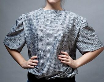 vintage 70s top blouse paisley doll sleeves black white Plus Size 1X 2X