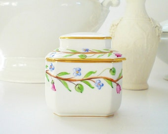Herend Porcelain Tea Caddy Porcelain Box Hand Painted Hungarian China Box