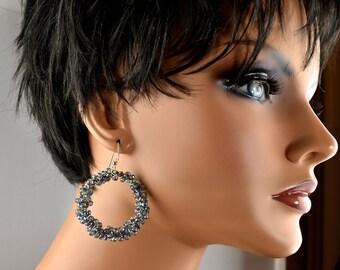 LP 510 Sparkling Blue Gray Crystal Sterling Silver Hoop Earrings