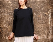 Black Linen Blouse - Cotton long sleeve shirt blouse
