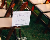 Reserved Seating Digital Download Hand Written Calligraphy Wedding Chalkboard Sign