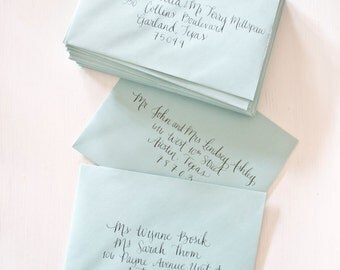 Calligraphy Envelope Addressing for Wedding Shower Invitations - Hand Written - Atkins Font