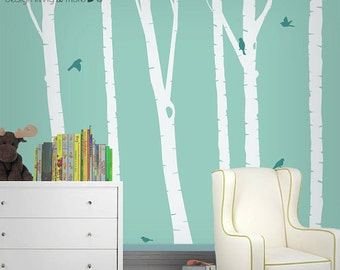 Birch Tree Decals - Baby Nursery Wall Decals - Childrens / Kids Playroom - Also great for Home / Office - 0051