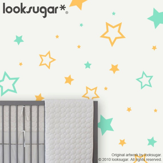 Children Wall Decals - 2 COLORS - Stars - Kids Wall decals Children Wall Stickers Kids Wall stickers Nursery Wall Stickers - 0062