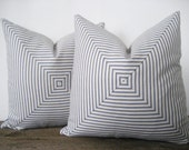 Pillow Cover Mitered Navy Blue Ticking Stripes