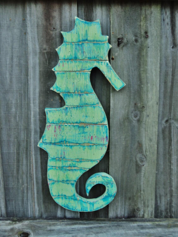 Wooden Sea Horse Wood Art Nautical Wall Hanging