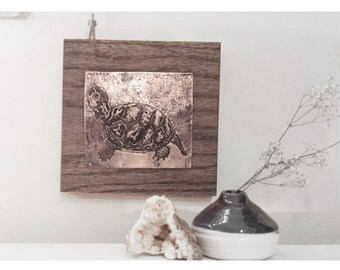 Textured Turtle Wall Hanging // Hand Hammered Copper Animal Original Print