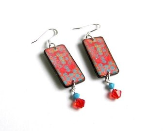 Summer Dangle Earrings Decoupaged Wood Crystal Drop Red and Turquoise Boho Jewelry