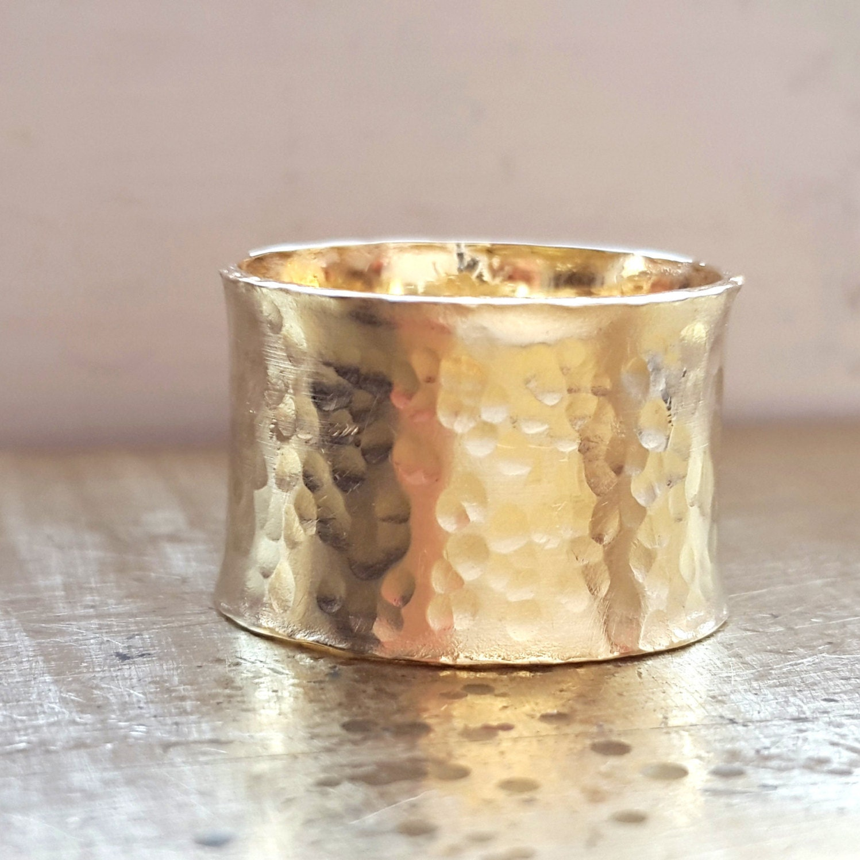 14k gold wide band ring statement ring wedding by. Black Bedroom Furniture Sets. Home Design Ideas