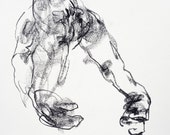 """Original Abstract Male Nude Drawing - Drawing 318 - 9 x 12"""" charcoal on paper - original drawing by Derek Overfield"""