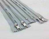 12inch - French Grey Metal Zipper - Silver Teeth - 5pcs