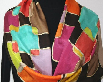 Silk Scarf Hand Painted. Yellow, Brown, Terracotta, Mauve Handmade Scarf SO RETRO. Size 11x60. Birthday, Valentine Gift. Gift-Wrapped