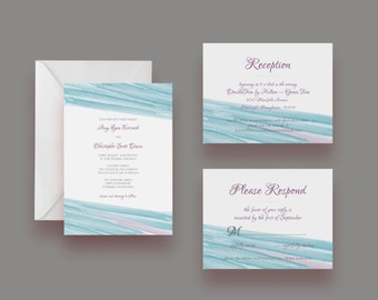 Printable Watercolor Wedding Invitation Suite -- Invite, Response Card + Reception Card -- Digital File Only
