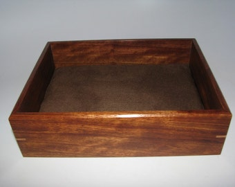 "Exotic Valet Box. Wooden Tray Upholstered in Suede Fabric. 8.25"" x 6.25"" x 2.25"". Dresser Box."