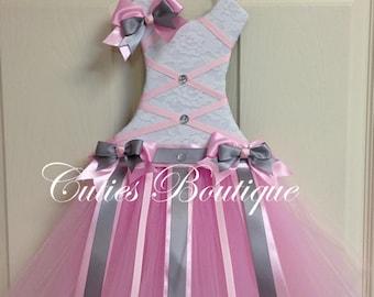 Tutu Dress Hair Bow Holder Baby Pink Grey
