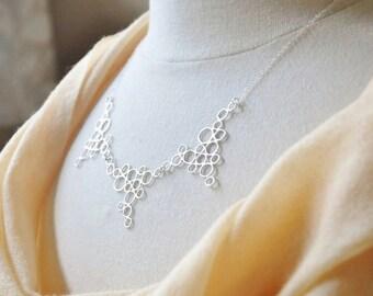 Silver Bubbles Bib Necklace/ Modern Necklace/ Geometric Necklace/Unique Necklace/ Statement Necklace, Bubbles Necklace/ Dainty Necklace