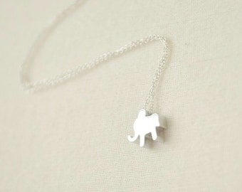 Little Elephant Necklace/ Silver Elephant/ Small Elephant/ Minimalist Necklace/ Simple Jewelry/ Adorable Animal Necklace