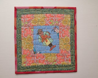 Cat Lady Quilted Mug Rug Wall Hanging