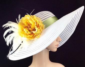 Kentucky Derby Hat,White Yellow Green,Fascinator,Dress Hat Wide brim Formal Dress Hat Wedding Tea Party Ascot  Horse Race