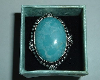 New genuine Amazonite & Sterling Silver Ring Sz 7.5!