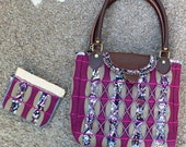 Bead embroidered bias-quilted purse/handbag
