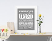 Valentine Gift . Marriage Quote Wall Oversized Art Print . Wedding Anniversary Rules of Modern Romantic Love Subway Art Manifesto Poster